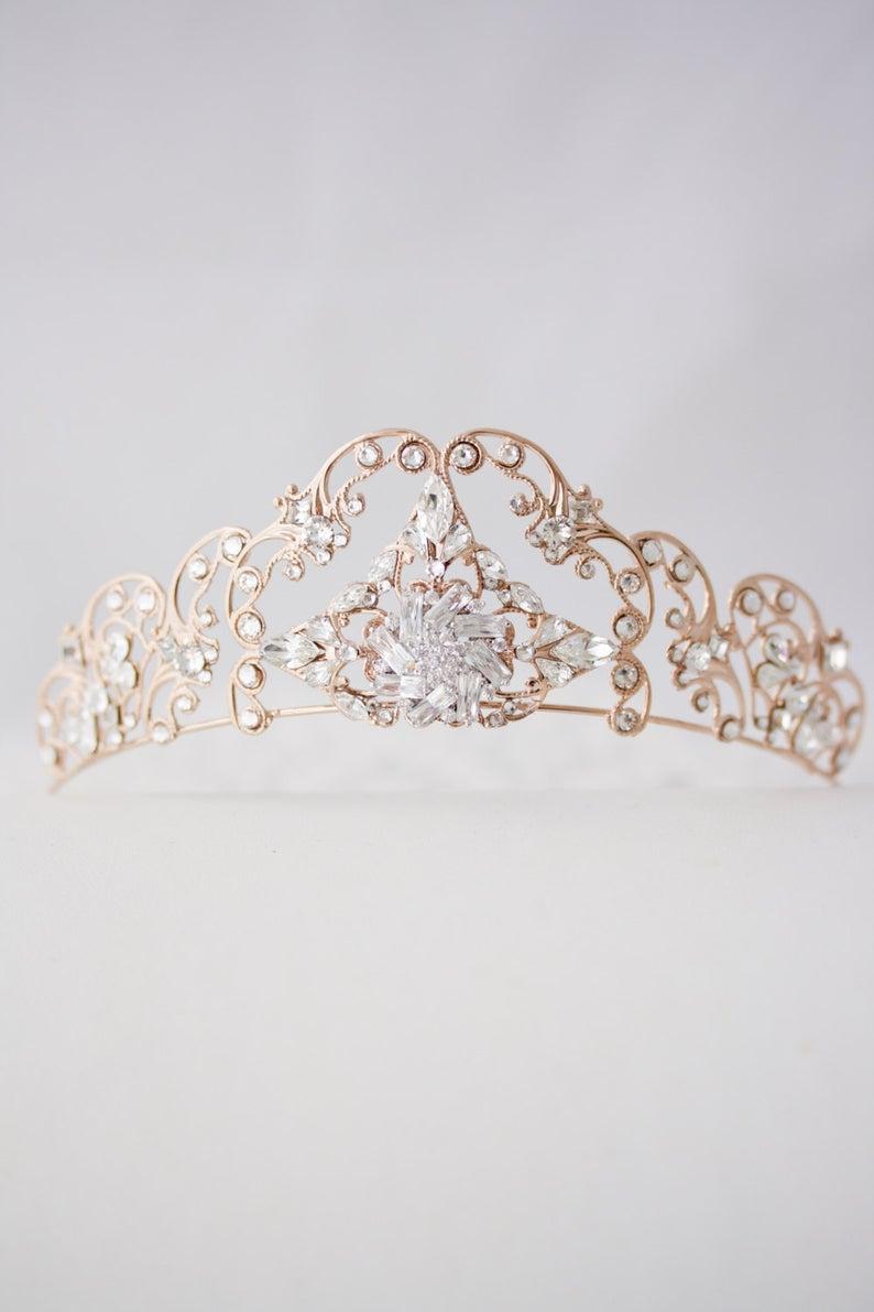 Rose Gold Tiara  Filigree Bridal Crown Art Deco Diadem Crystal