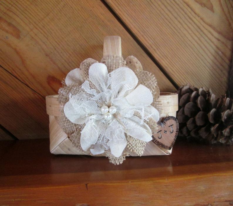 Rustic Flower Girl Basket Flower Girl Basket Wedding Basket