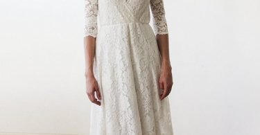 SALE Sleeves lace wedding dress Ivory Bohemian wedding dress