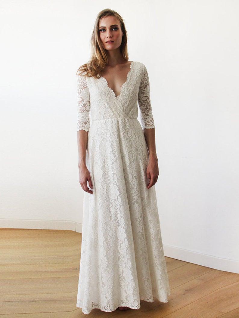 SALE Sleeves lace wedding dress Ivory Bohemian wedding dress