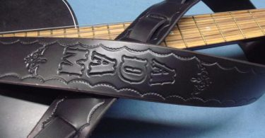 SOLID BLACK Scalloped Genuine Leather Guitar Strap 2
