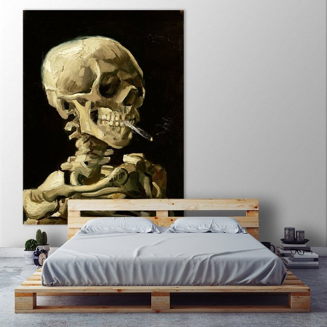 Skull with Burning Cigarette. Giant Master Art Print on Canvas, 54 x 72 inches.
