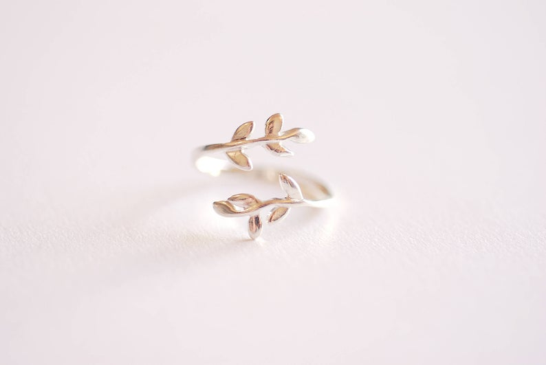 Sterling Silver Leaf  Branch Ring Gold Leaf Ring Rose Gold