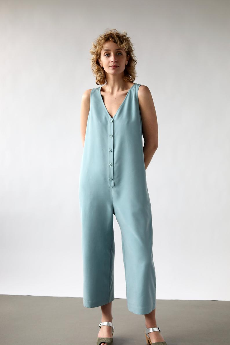 Summer button front jumpsuit / OFFON CLOTHING