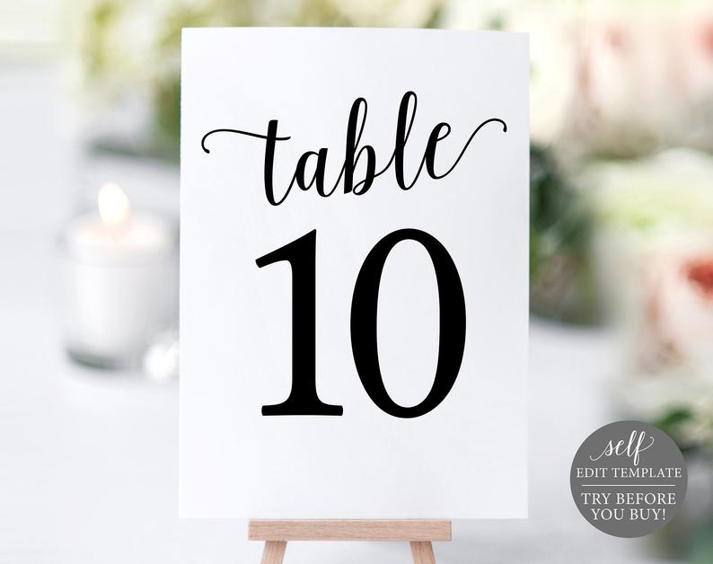 Table Number Template Table Numbers Printable Table Numbers