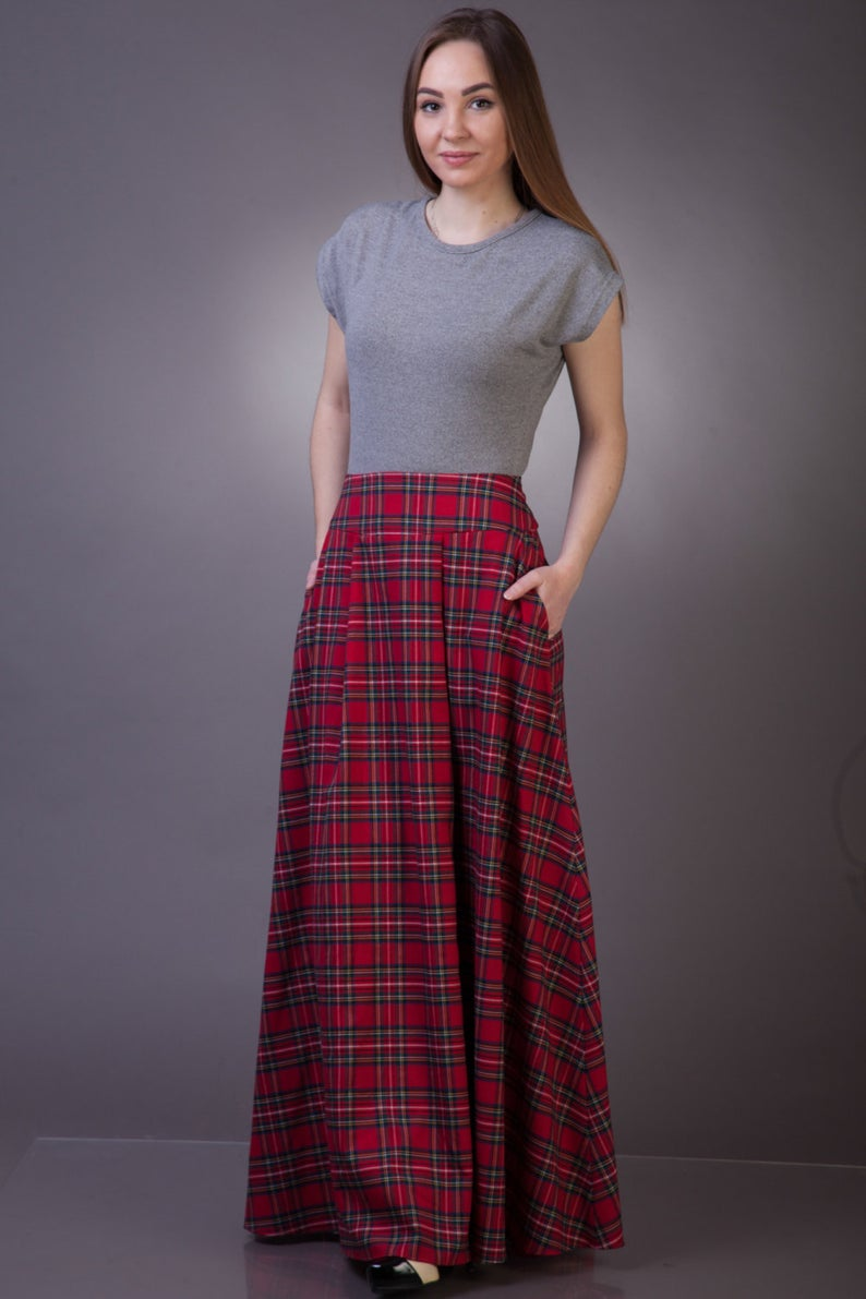 Tartan long skirt with pockets Maxi tartan skirt Long plaid