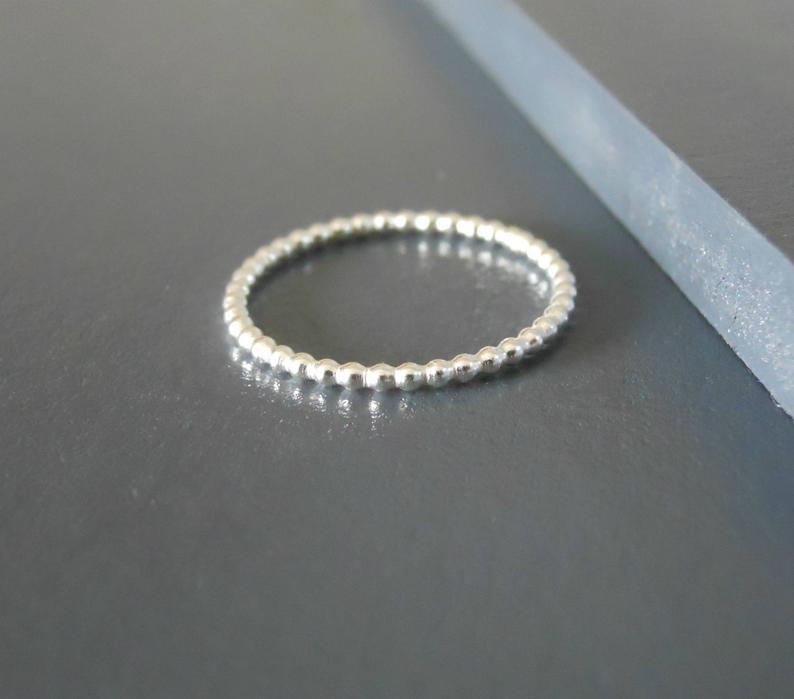Thin Beaded Sterling Silver Ring Skinny Beaded Ring Minimal