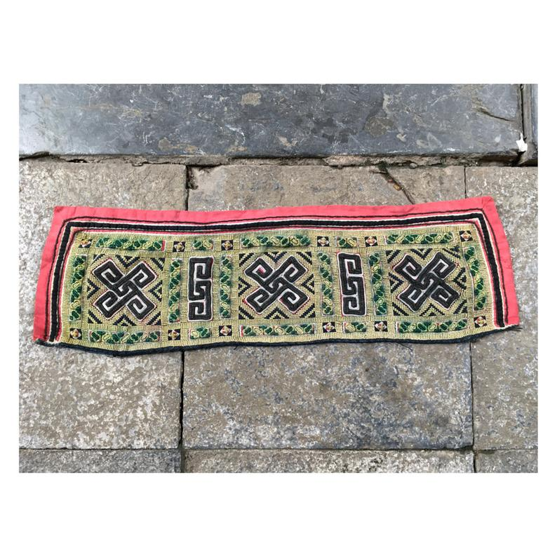 Vintage tribal Black Hmong embroidery collar in SapaLao Cai
