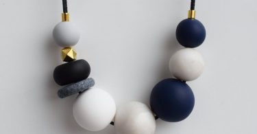 White Bead necklace Modern Statement necklace Geometric