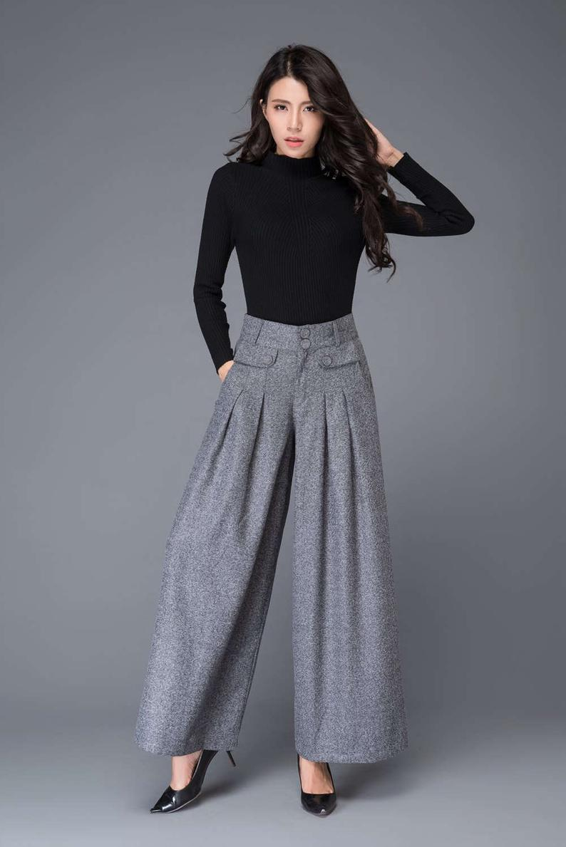 Wide Leg palazzo pants in Gray Maxi wool pants womens pants