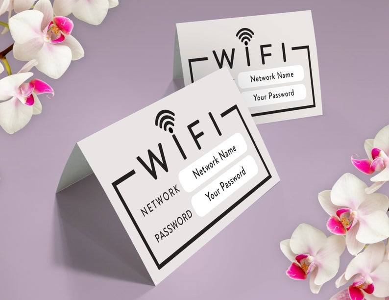 Wifi table tent card / Instant Download / EDIT YOURSELF