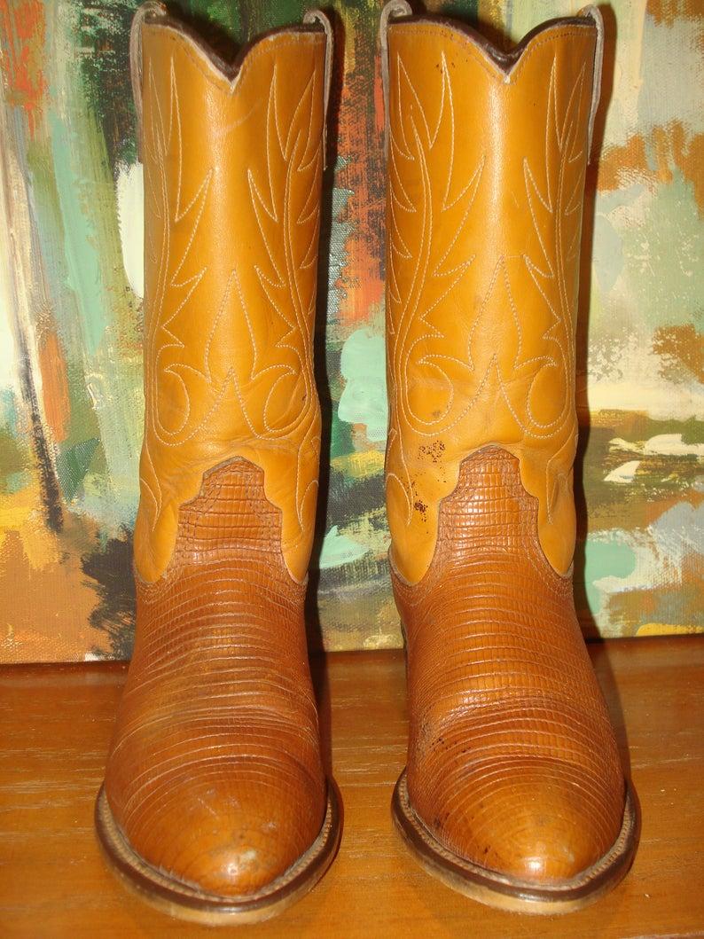 Acme Lizard Grain on Cowhide Cowboy Boots Size 4 B Two Tone