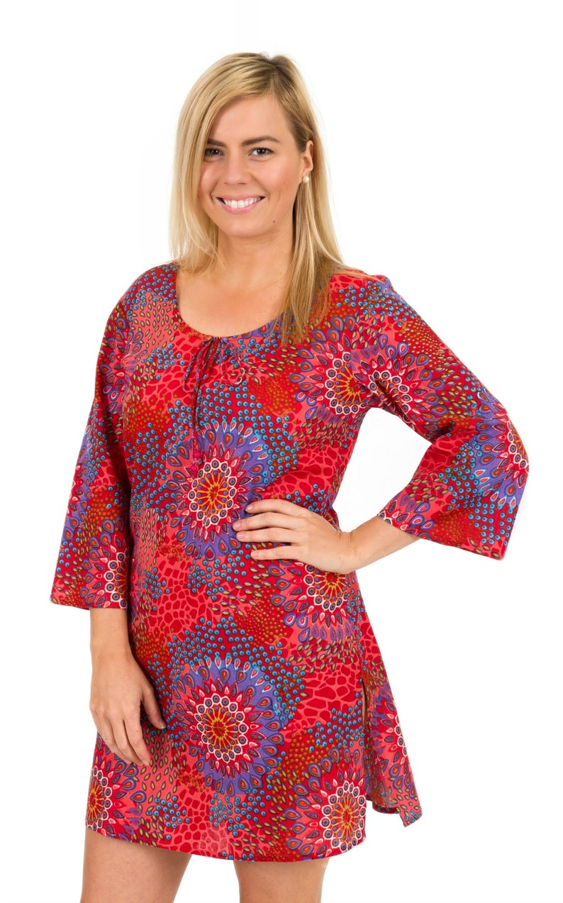 Beach Cover Up or Kaftan Dress in 100% Cotton   Reef Coral
