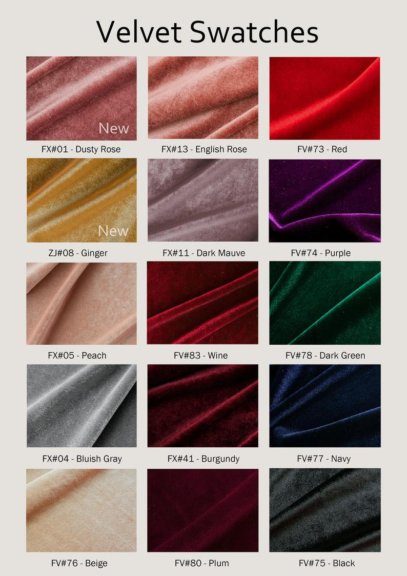 Bigger Swatch Pieces for Velvet Fabric with 15 Colors Large