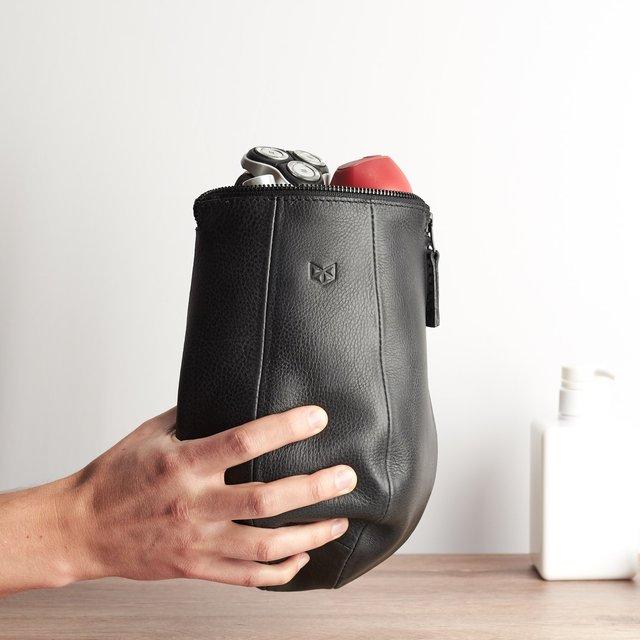Black Leather Boxer Toiletry Bag