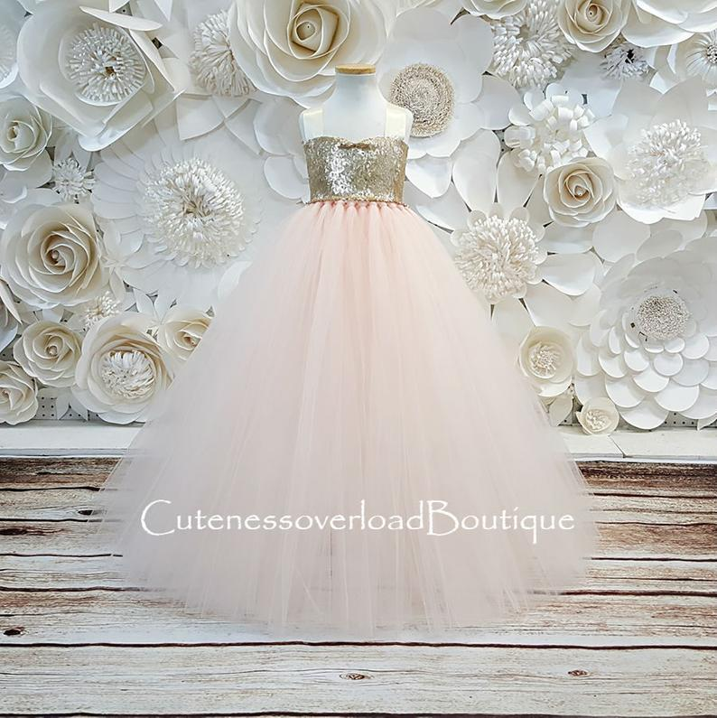 Blush Pink Flower Girl Tutu Dress-Blush Tutu Dress-Blush