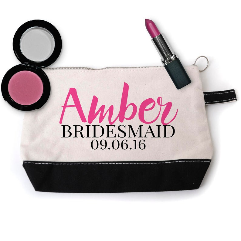 Bridesmaid Cosmetic Bag Personalized Bridal Party Gift
