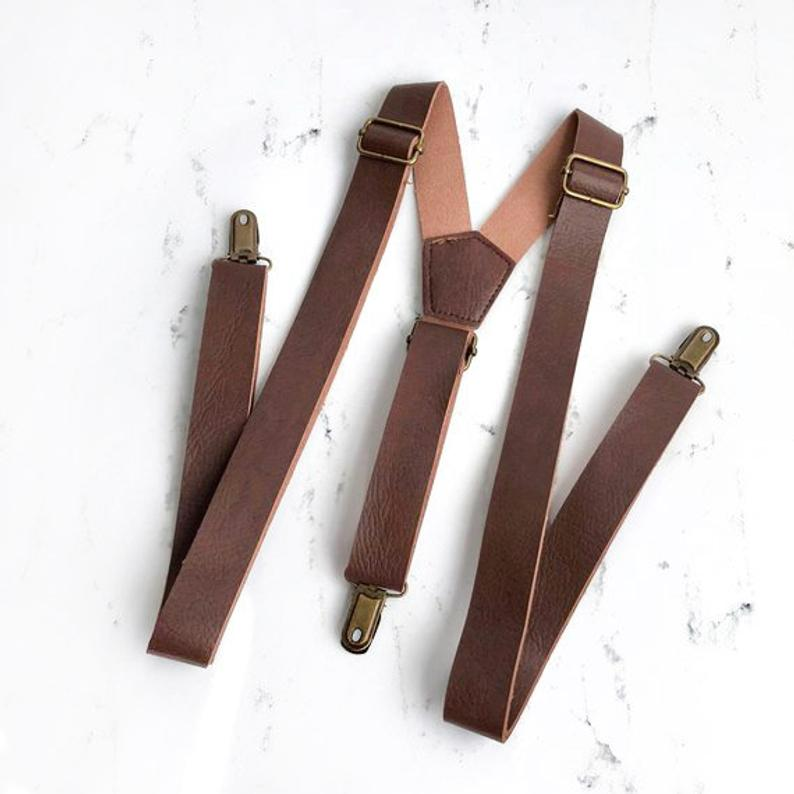 Brown Leather Suspenders Suspenders leather suspenders
