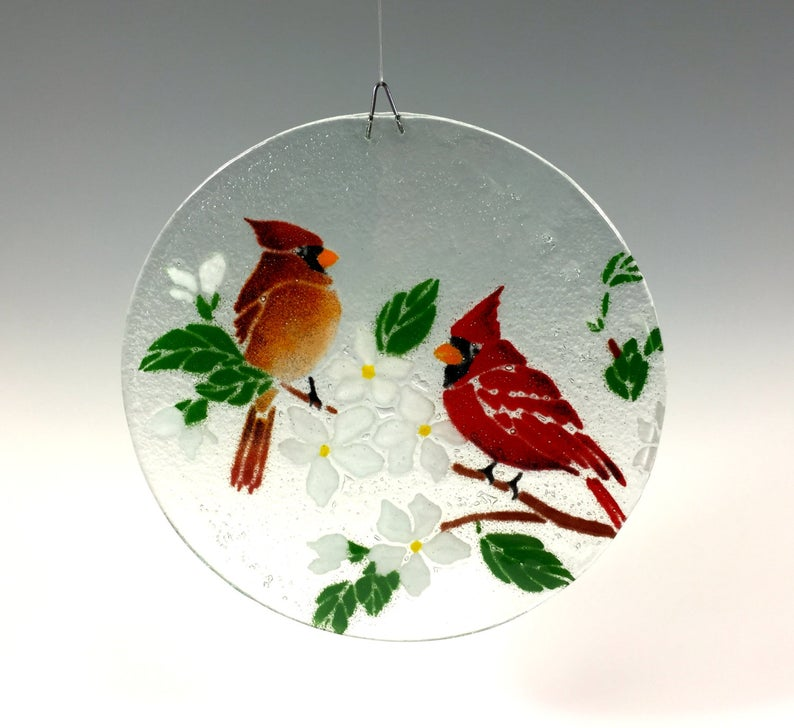 Cardinal Suncatcher Cardinal Window Hanging Fused Glass