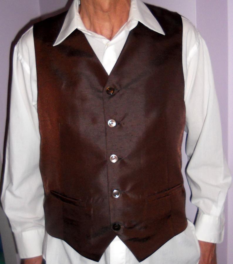 Chocolate brown men's vest size XL classic formal mens