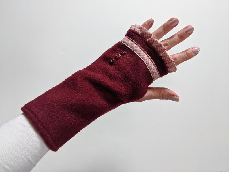 Cold Weather Accessories Burgundy Fingerless Gloves Womens