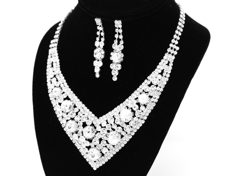 Crystal Bridal Necklace Set Crystal Wedding Necklace Crystal