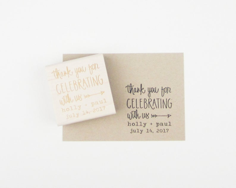 Custom Wedding Calligrapy Stamp  Thank You For Celebrating
