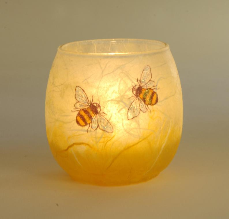 Cute bee candle holder   hand painted bees set on a honey