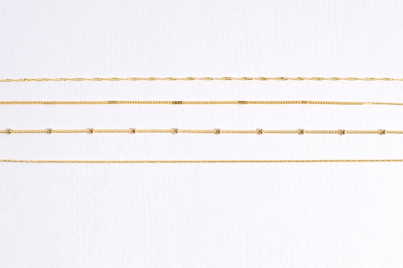 Dainty Thin Gold Chain Layering Necklaces  Delicate Boho