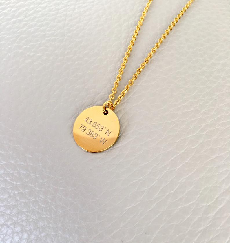 Disc necklace circle necklace gold silver rose gold