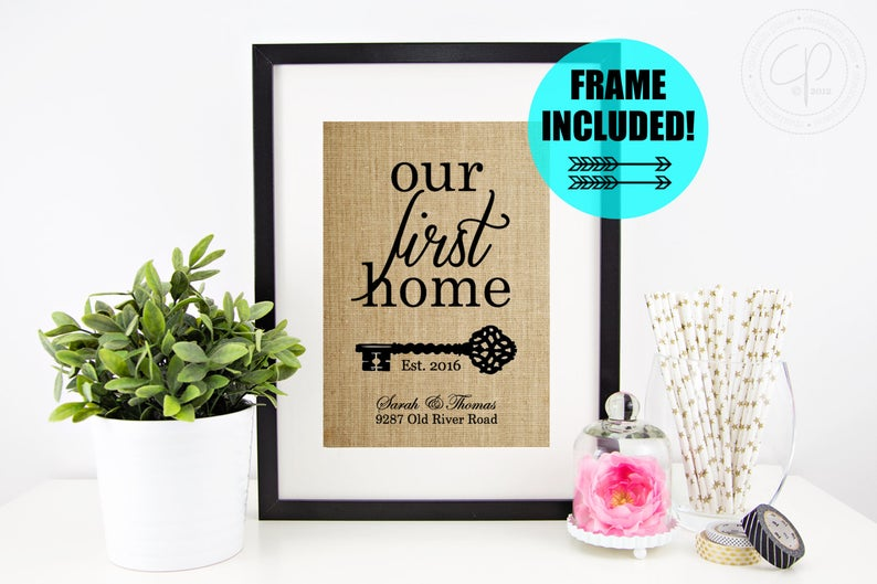 FRAME INCLUDED Personalized House Warming Gift  Our First
