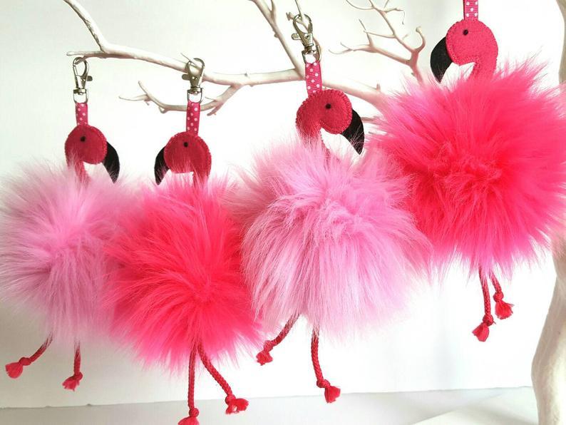 Flamingo bag hanger Pink vegan pom pom hanging decoration