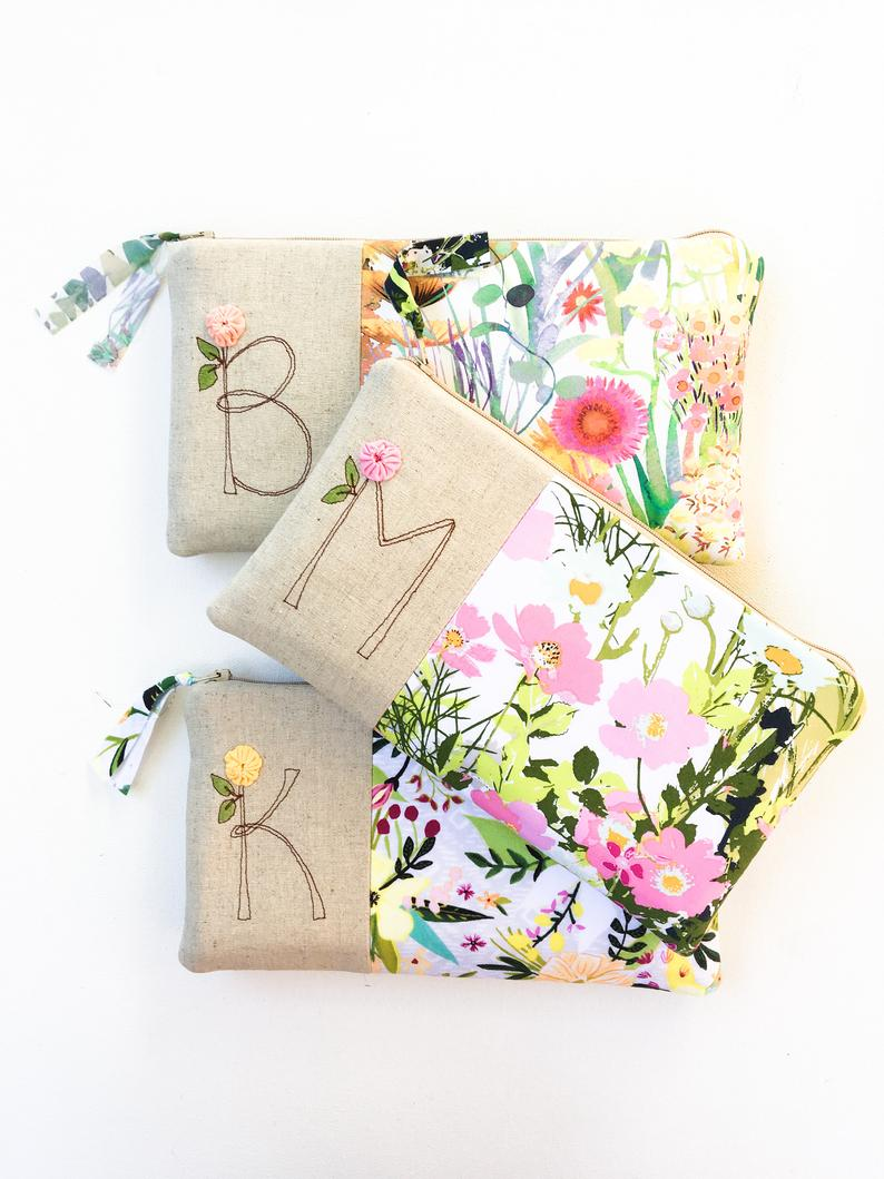 Floral Wedding Monogram Clutch Personalized Bridemaid Gift