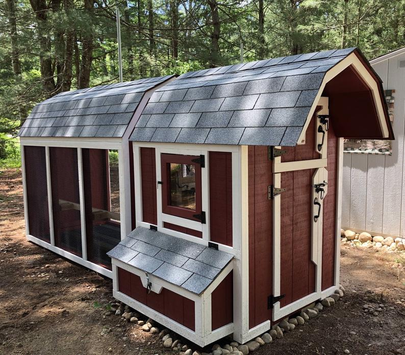 Gambrel Predator Proof Chicken Coop with enclosure