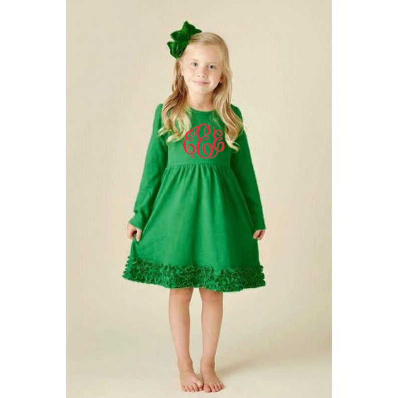 Girls Monogrammed Dress Personalized Christmas Dress Holiday