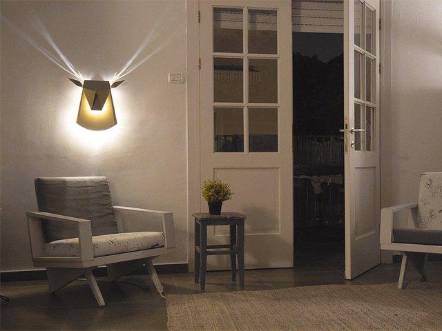 Gold LED Aluminium Deer Head Light Fixture