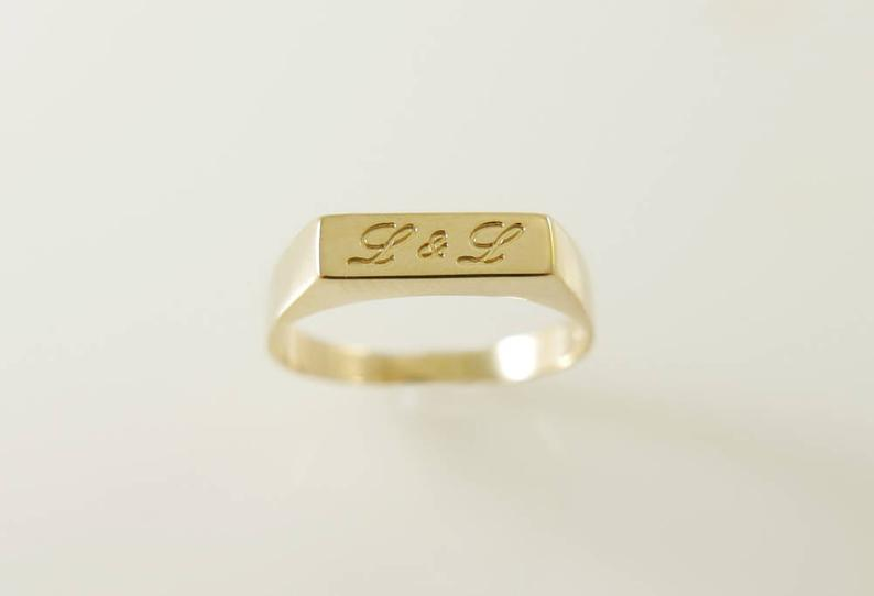 Gold name ring. Personalized name ring. Word ring. Name gold