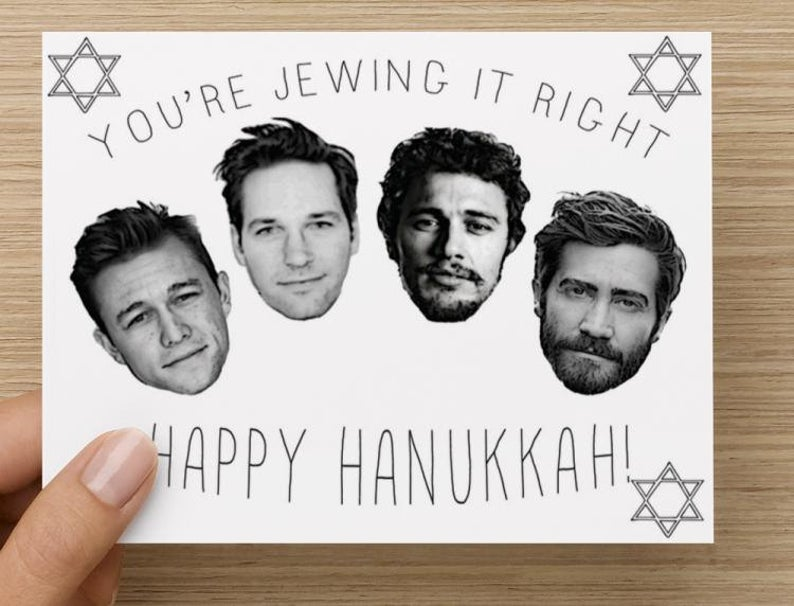 Happy Hanukkah Card You're Jewing It Right