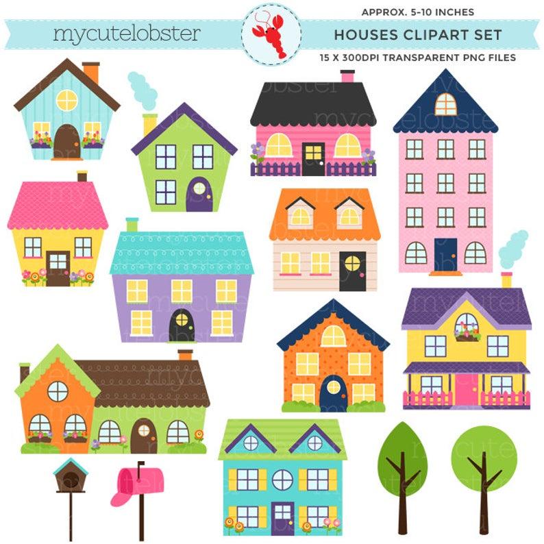 Houses Clipart Set  clip art set of houses bright houses