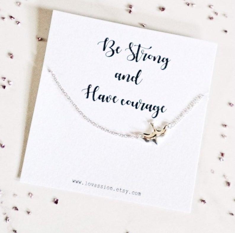 Inspirational Necklace Sideways Bird Necklace off centre