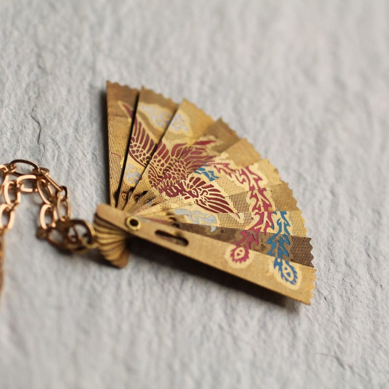 Japanese Fan Necklace Crane Necklace Birthday Gift Folding