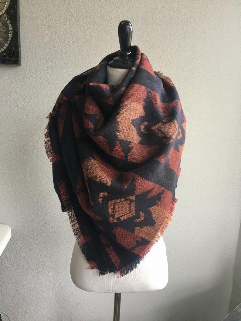 Large Blanket Scarf Aztec Dark Blue/Purple Orange Boho