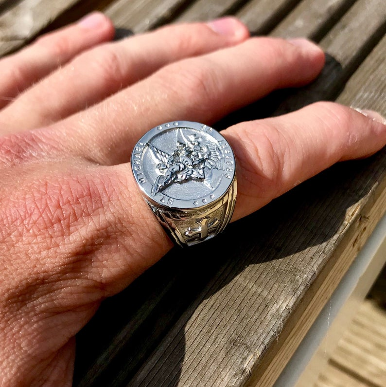 Mens Silver St Michael Ring  Signet Sovereign  Jewelry Gift