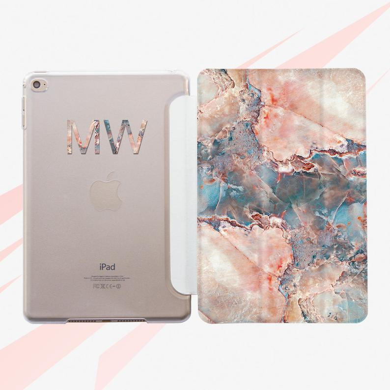 Monogram iPad 10.5 Case iPad Air 2 Case Marble iPad 2 Case