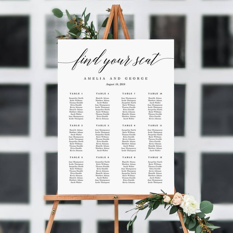 ON SALE  7 Sizes Wedding Seating Chart Template Editable