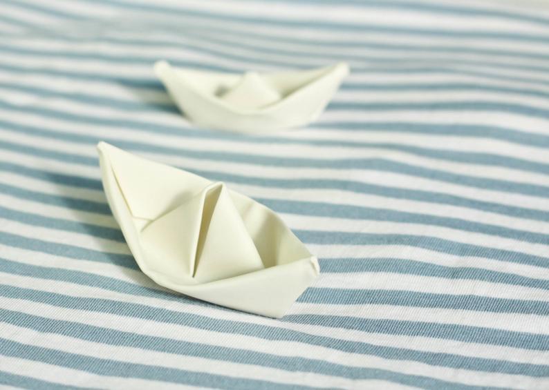 Origami Sculpture Boat. Porcelain White Boat. Paper