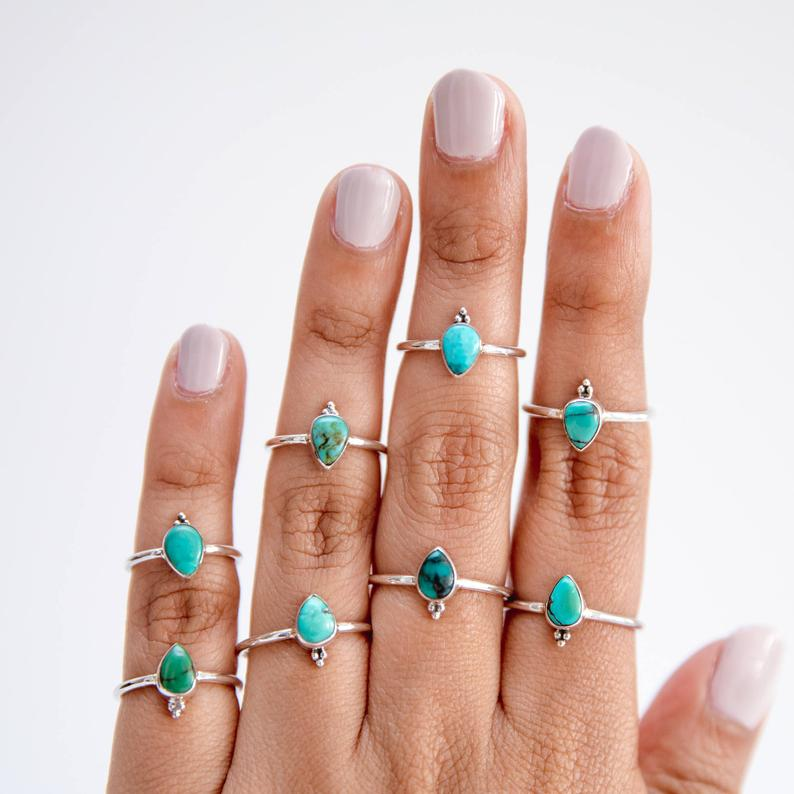 Pear Turquoise Ring Dainty Stacking Ring Forget Me Not Ring