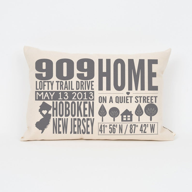 Personalized Home Address Pillow Gift for Parents Realtor