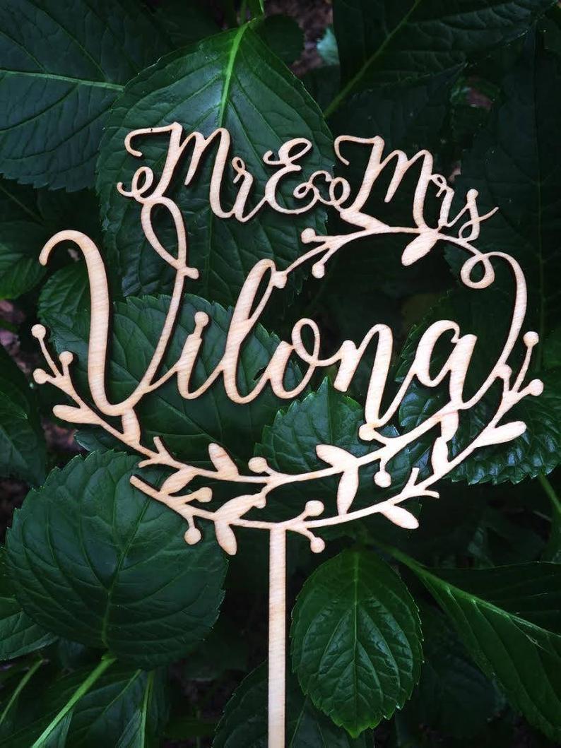 Personalized MR&MRS Wedding Cake Topper Wedding Cake Decor