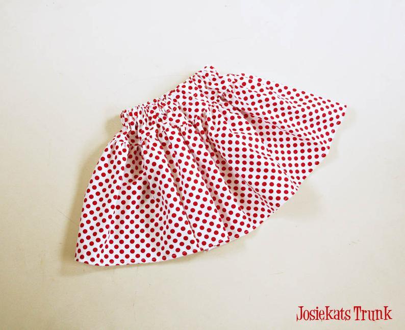 Red Polka Dot Skirt Twirl Girl Tween Junior Retro 4 5 6/6X 7/8